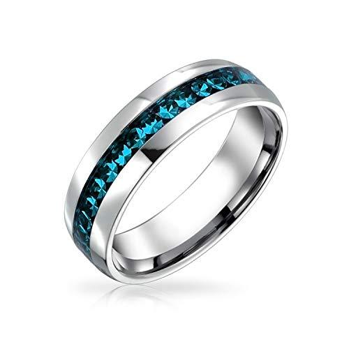 Bling Jewelry Diciembre Mes de Nacimiento Azul Color Canal Set Cristal Eternidad Banda Anillo para Mujeres para Hombres Plata Tonada Acero Inoxidable