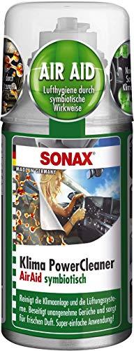 SONAX KlimaPowerCleaner AirAid symbiotisch (100 ml) sorgt schnell und einfach für langanhaltende Lufthygiene und befreit dauerhaft von lästigen Gerüchen   Art-Nr. 03231000