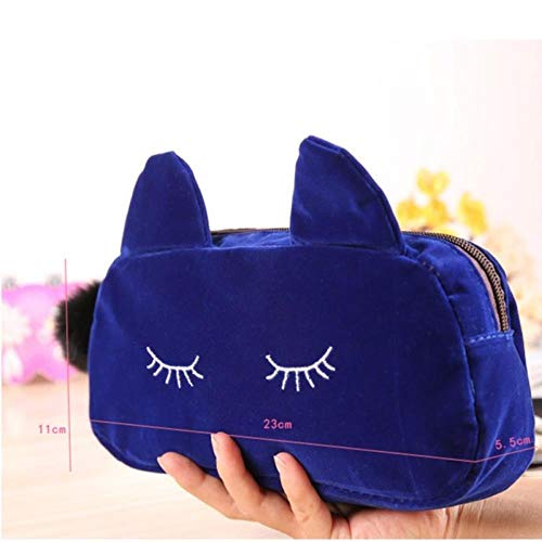 IONE Cosmetic Bag Box Storage Bag Lady Travel Portable Storage Bag Beauty Cosmetics Zipper Bag Handbag Beauty Wash Bag, Blue