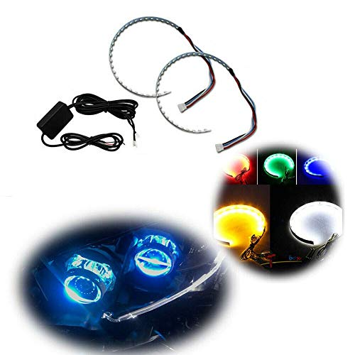 """GTinthebox Bluetooth Wireless Remote Control 30-SMD RGB LED Demon Eye Halo Ring Kit For Car Auto Motorcycle Headlight Projectors or 2.5"""" 2.8"""" 3.0"""" Retrofit Projector Lens"""