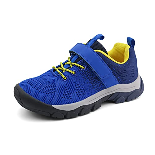 brooman Kids Hiking Shoes Boys Girls Trail Running Shoes Outdoor Walking Sneakers (12,Navy)