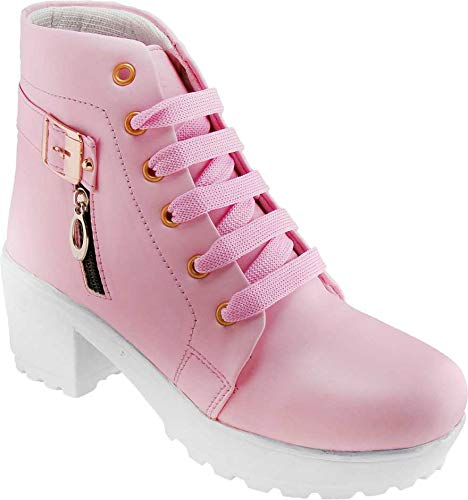 SILVER CAT Latest High Heel Long Ankle Boots Look for Womens and Girls Pink