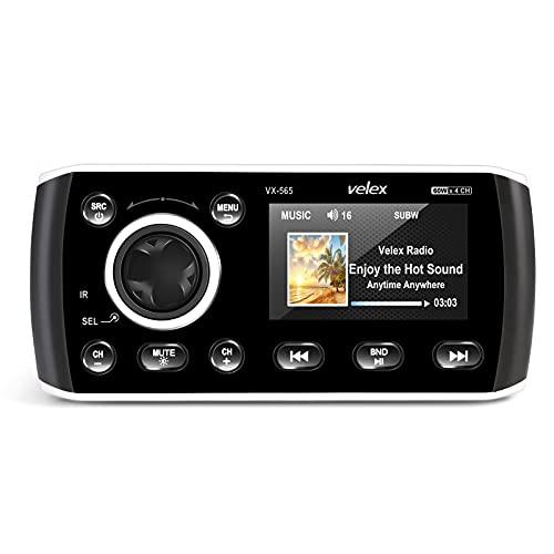 Estéreo marino, reproductor de audio y video DAB +   FM   AM con transmisión por Bluetooth, para yate, arranque, UTV, ATV, Powersport, spa