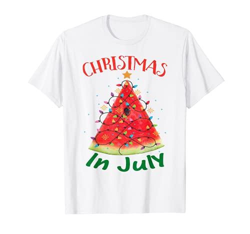 Navidad En Julio Verano Tee Melón Árbol De Navidad Verano Camiseta