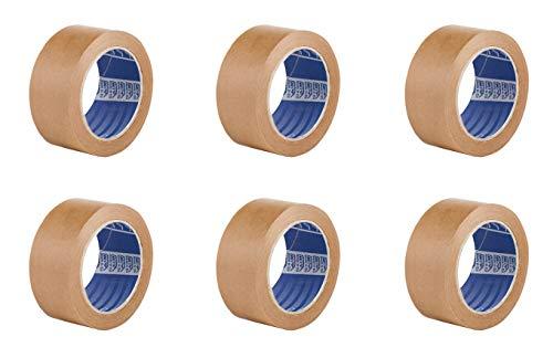 Nastro adesivo Ecologico in Carta marrone - Pack da 6 rotoli - 50 mt x 50 mm - senza solventi