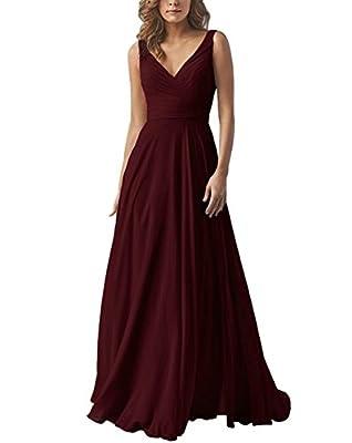 Yilis Double V-Neck Pleated Chiffon Bridesmaid Dresses Long Evening Formal Gowns Burgundy US16