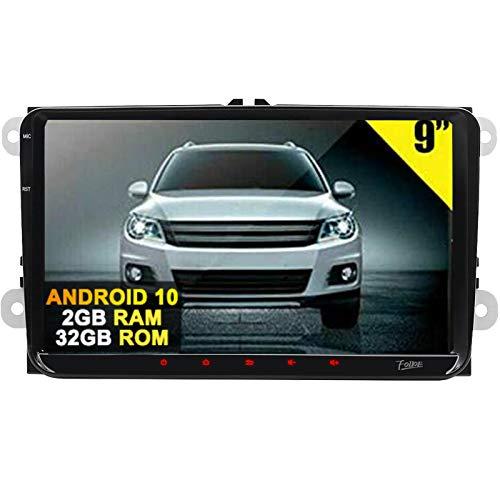 Android 10 autoradio 2GB RAM 32GB ROM doppio 2 DIN 9 pollici touch screen capacitivo USB Quad Core navigazione GPS Mirror Link Canbus per VW
