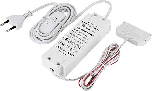 Transformateur LED 12 V - 12 W - Avec fiche Euro + interrupteur marche/arrêt + répartiteur 6 prises (prises mini-AMP) - 2 câbles de 2 m - Blanc