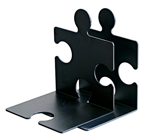 HAN 9212-13, CD-Ständer/Buchstütze PUZZLE, Schick, Innovativ und sehr Standfest. Beliebig verkettbar, Set mit 2 Stück, schwarz