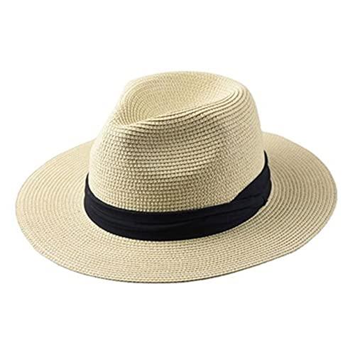 ZYQ Sombrero De Paja Tejido De Cabeza Grande Plegable para Hombre Gorra De Sol De Protección Solar Transpirable Al Aire Libre De Verano 5 Colores (Color : D, Size : 61-64 cm)