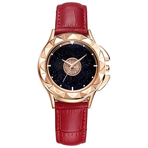 GLEMFOX dames kwarts armband leren armband draaibare wijzerplaat eenvoudige waterdicht dameshorloge Riemen. Large rood