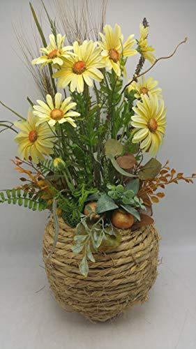 Blumengesteck Gesteck Sommergesteck Seidenblumen Margeriten Farn gelb