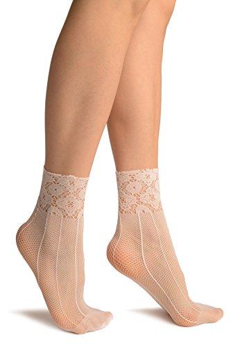 LissKiss White Pinstriped Mesh Socks Ankle High - Wei? Socken, Einheitsgroesse (37-42)