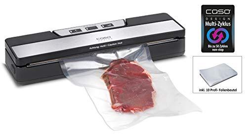 CASO VR 190 advanced Vakuumierer - Folienschweißgerät, verlängern Sie die Halbtbarkeit Ihrer Lebensmittel, Vakuumiergerät ideal zum portionieren & aufbewahren von Essen, inkl. 10 Profi- Folienbeutel