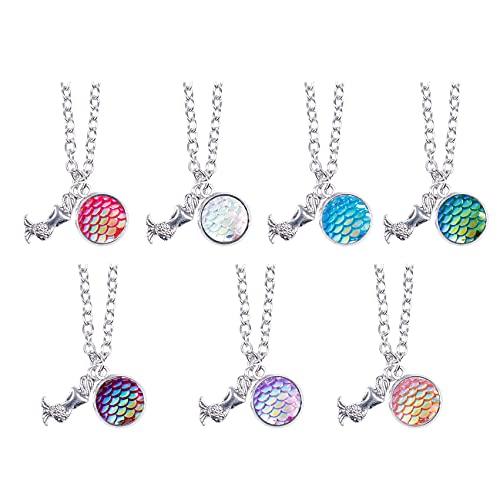 LPOQW 7 piezas románticas de escamas de pescado de sirena collar brillante escamas colgantes de verano vacaciones joyas regalos encantos para mujeres y niñas