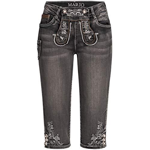MarJo Trachten Damen Trachten-Mode Jeans-Kniebundlederhose Franziska in Schwarz, Größe:38, Farbe:Schwarz