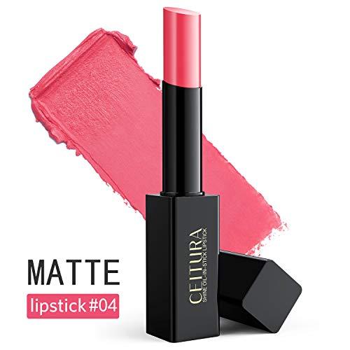 Lippenstifte, Heller rosafarbener matte Lippenstifte lang anhaltend feuchtigkeitsspendend für nacktes Make-up, CEITURA # 004, 1 Tube