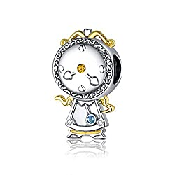 Aladdin Lamp Charm Authentic 925 Sterling Silver Charms Bead for Womens Bracelets Necklace Pendant (Clock 320)