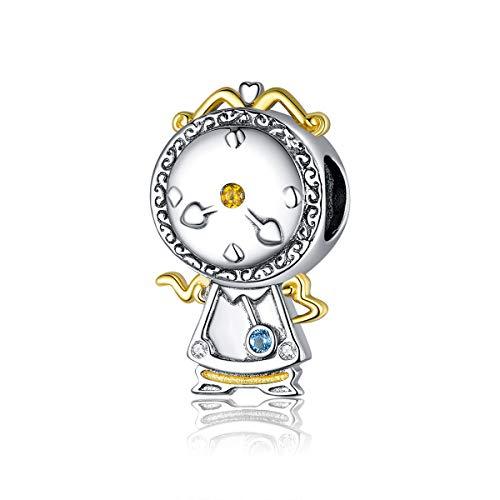 Abalorio de plata de ley 925 con diseño de mascotas y reloj mágico, compatible con pulseras Pandora para mujer