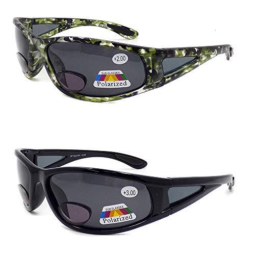 Polarized Bifocal Sports Sunglasses for Men Women Fly Fishing Reading Glasses (2Pair) 1.50 2.0 2.50 3.0 (2 Pairs (Black/Green), 2)