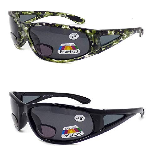 2 Pack- Polarized & Bifocal Full Sports Wrap Men Sunglasses Fly Fishing Reading Glass + Free Storage case + Pouch