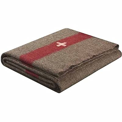 LS Swiss Army Style Wool Chestnut Blanket 2700, Brown with White Cross and Red Stripe