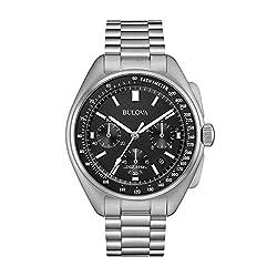 Bulova Archive Series Mens Watch, Stainless Steel Lunar Pilot Chronograph , Silver-Tone (Model: 96B258)
