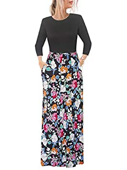 Alice & Elmer Women s Casual Loose Fall Spring Elastic Waist Patchwork 3/4 Sleeve Floral Print Long Maxi Mumu Dress with Pockets  Orang & White Medium