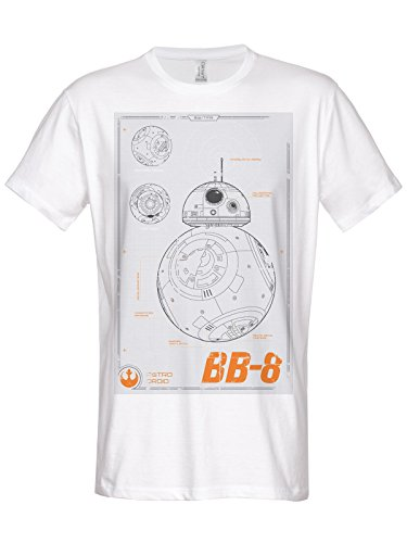 Star Wars Officially Licensed Merchandise BB-8 Blueprint T-Shirt (White), Large