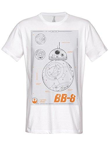 Star Wars Officially Licensed Merchandise BB-8 Blueprint T-Shirt (White), Large