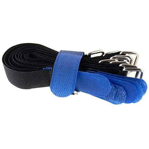 10 fascette stringicavo in velcro, 200 x 20, nero/blu, velcro su un lato