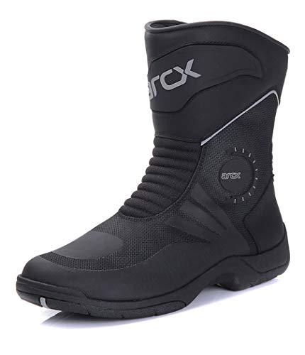 AzLLY motorlaarzen voor heren, punk-laarzen voor motorrijders, zwart, met gesp van PU-leer, waterdicht voor alle seizoenen
