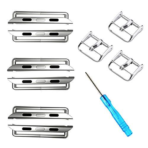 ONELANKS Kit de conector de banda de reloj reemplazable adaptador de conexión de metal apto para correas iWatch serie 5 4 (44 mm) serie 3 2 1 (42 mm) plateado (paquete de 3)