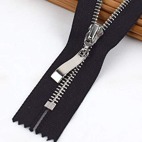 Meetee 5/10pcs 20cm 5# Metal Zipper Close-End DIY Bag Purse Garment Sewing Tailor Accessory Black Zip Jackets Zippers ZA409-6-black,10pcs,20cm