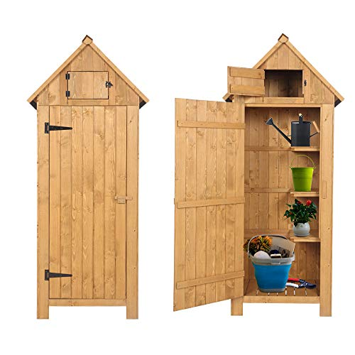 Kcelarec Outdoor Storage Shed for Garden Tools, Wooden Patio Tool Shed Lockers with Single Door