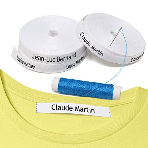 100 Étiquettes vêtements à coudre. Étiquettes personnalisées tissées pour le nom. Conçu pour les enfants, la crèche, l'école, le lycee, la maternelle, la garde d'enfants, les uniformes.