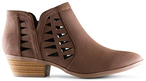 MARCOREPUBLIC Oslo Womens Perforated Cut Out Side Medium Low Stacked Block Heel Ankle Booties Boots - (Light Brown DISPU) - 5