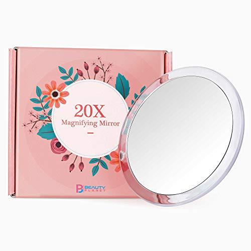 Beauty Planet Kosmetikspiegel 2020er Version 12,5cm 20-Fach Vergrößerungsspiegel rund mit 3X Saugnapf, Kleiner Badspiegel zum Makeup Auftragen, Haarentfernung mit Pinzette(5inches, Silver)