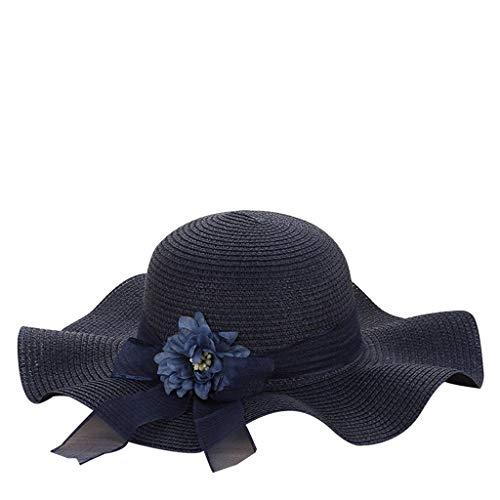 LEEDY - Sombrero de paja plegable, para mujer, elegante, para playa, protección solar, para dormir, verano, con ala ancha, protección UV UPF 50