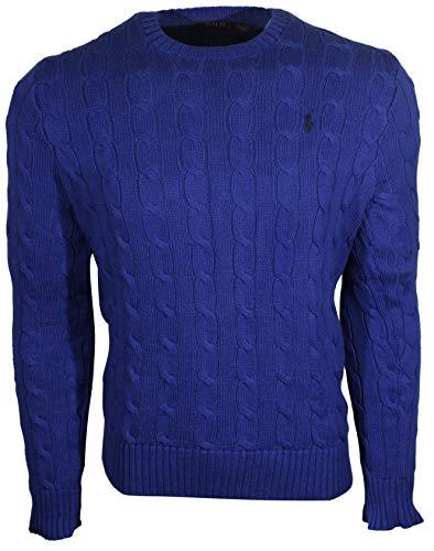Polo Ralph Lauren Mens Cable-Knit Crew Neck Sweater (Medium, Blue (Black Pony))