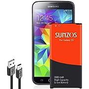 SUNZOS Galaxy S5 Akku, 2800mAh Akku für Samsung Galaxy S5, S5 Plus, G900F, Neo G903F - BG900BBE mit NFC Battery Accu - 3 Jahre Garantie