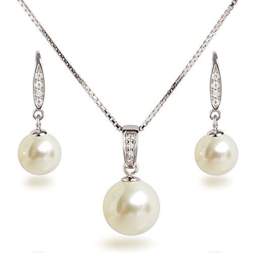 Schöner SD, Schmuckset Perlen cremeweiß Anhänger, Kette und Ohrhänger besetzt mit Zirkonia, 925 Silber Rhodium