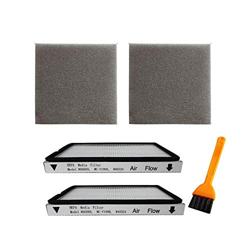 VideoPUP 2 Pack Exhaust HEPA Filters with Foam Filters, HEPA Media Filter Compatible with Kenmore EF-1 Compares to Model 86889, Compatible with Panasonic, MC-V199H, 40324 + 1 Brush as a Gift