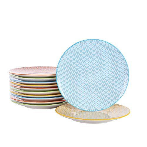 vancasso, Natsuki Porzellan Dessertteller, 12 tlg. Rund Kuchenteller, Frühstück Teller Set, Mehrfarbig