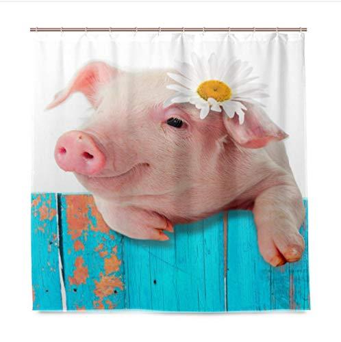 Süßes Schwein Duschvorhang, antibakterieller Duschvorhang aus Polyester mit 12 Duschvorhangringen, schimmelresistenter Duschvorhang