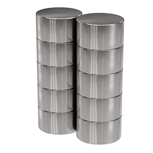 10x Neodym Power Magnet silber - Scheibenmagnet extra stark rund - Durchmesser 15x8mm hoch - starke Magneten Supermagnet - Haftkraft ca. 8 kg - Magnete für Whiteboard, Pinnwand, Magnettafel, Werkstatt