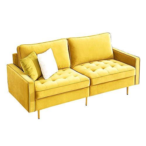 WGYDREAM Sofá Cama Tela De Terciopelo Amarillo Moderno Sofá 3 Plazas Modernas Sala De Estar Sofá Sofá con Reposabrazos para Salón Pequeño Espacio
