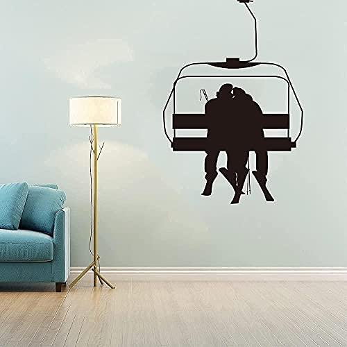 Vinilo mural impermeable autoadhesivo pegatinas de pared pareja esquí cable dormitorio sala...