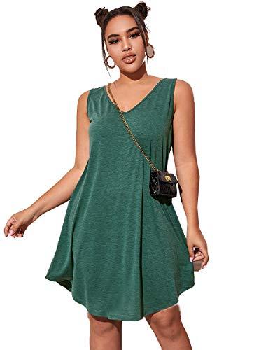 Romwe Women's Plus Size Summer Sundress Sleeveless Loose Casual T-Shirt Tank Dress Green 4X