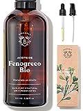 ACEITE DE FENOGRECO ORGÁNICO | Aceite Macerado de Semillas de Fenogreco y Aceite de Girasol | Cuerpo, Pecho, Glúteos, Cabello | Vegano y Cruelty Free | Botella de vidrio + Pipeta + Bomba (100ml)